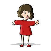 Cartoon nervous woman — Stock Vector