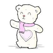 Cartoon white teddy bear with love heart — Stock Vector