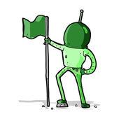 Cartoon astronaut planting flag — Stock Vector