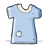 Cartoon patched old tee shirt — Stock Vector