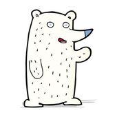 мультфильм размахивая белого медведя — Cтоковый вектор
