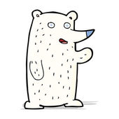 Cartoon waving polar bear — Stok Vektör