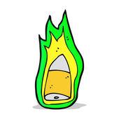 Cartoon flaming bullet — Stock Vector