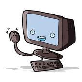 Computadora de la historieta — Vector de stock