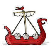 Cartoon viking ship — Stock Vector