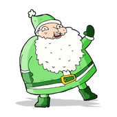 Funny waving santa claus cartoon — Stockvektor
