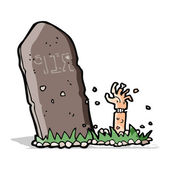 Cartoon zombie rising from grave — Stock Vector