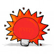 Cartoon flashing red light bulb — Stock Vector