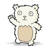 Cartoon waving polar bear cub — Stock Vector
