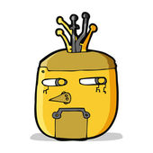 Cartoon gouden robot hoofd — Stockvector