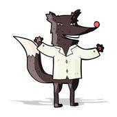 Cartoon happy wolf wearing shirt — Stock Vector