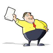 Cartoon boss waving papers — Stock Vector