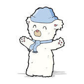 Cartooon cute polar bear in hat and scarf — Stock Vector