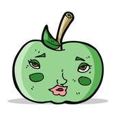 Apple dos desenhos animados com rosto — Vetor de Stock