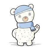 Cartoon polar bear in winter hat and scarf — Stock Vector