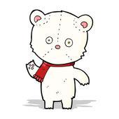 Cartoon waving polar bear — Stock Vector