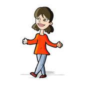 Cartoon woman with no worries — Stock Vector