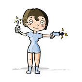 Cartoon future space girl — Stock Vector