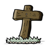Cartoon wooden cross grave — Stock Vector