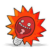 Cartoon red lightbulb — Stock Vector