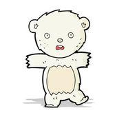 Cartoon shocked polar bear cub — Stock Vector