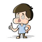 Cartoon boy giving thumbs up — Stock Vector