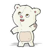 Cartoon cute waving polar bear teddy — Stock Vector