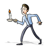 Cartoon frightened man walking with candlestick — Stock Vector