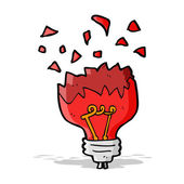 Cartoon red light bulb exploding — Stock Vector