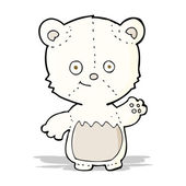 Cartoon little polar bear waving — Vector de stock