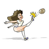 Cartoon female soccer player kicking ball — Stok Vektör