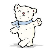 Cartoon waving teddy polar bear — Stockvector