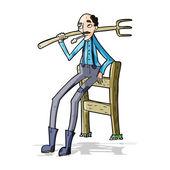 Cartoon old farmer leaning on fence — Stockvector