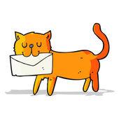 Cartoon cat carrying letter — Stock Vector