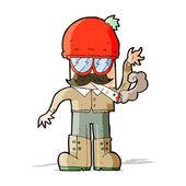 Cartoon man smoking pot — Stock Vector