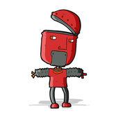 Funny cartoon robot with open head — Stock Vector