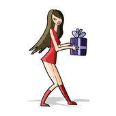 Chica de moda de dibujos animados con el presente — Vector de stock