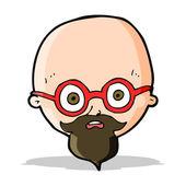 Cartoon shocked man with beard — Stock Vector
