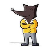 Loup de dessin animé en chemise — Vecteur