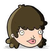 мультфильм женское лицо с выражением удивлен — Cтоковый вектор