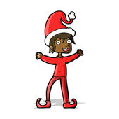 Cartoon excited christmas elf — Stock Vector