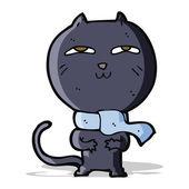 Cartoon funny cat wearing scarf — Stock Vector