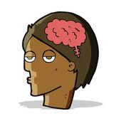 Мультфильм голова с символом мозга — Cтоковый вектор
