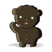 Cartoon unhappy black teddy bear — Stock Vector