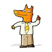 Cartoon business fox with idea — Vector de stock