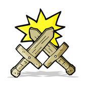 Cartoon wooden sword fight — Stock Vector