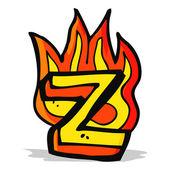 Cartoon flaming letter — Stock Vector