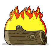 Cartoon burning log — Vettoriale Stock