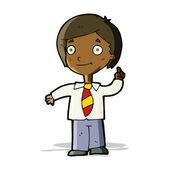 Cartoon school boy answering question — Stock Vector