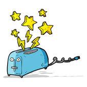 Cartoon sparking toaster — Stock Vector